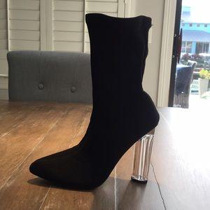 Lucite heel sock boot